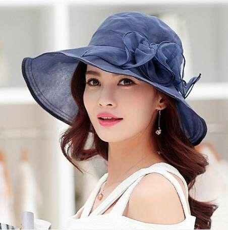 Summer silk ladies sun hats flower design UV protection