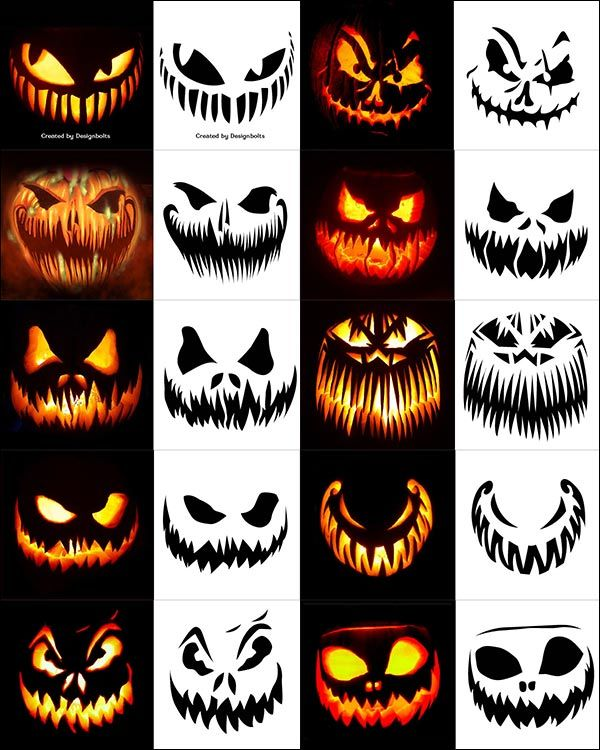 290+ Free Printable Halloween Pumpkin Carving Stencils, Patterns, Designs, Faces & Ideas