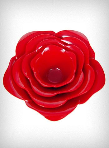 "Red ""rose""/flower stackable serving bowls."