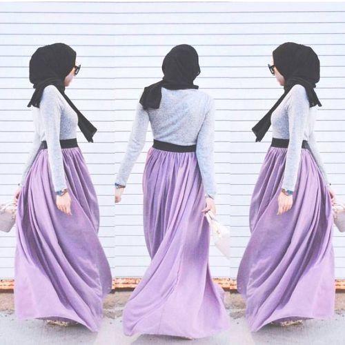 purple maxi skirt hijab look, Hijabista fashion looks http://www.justtrendygirls.com/hijabista-fashion-looks/