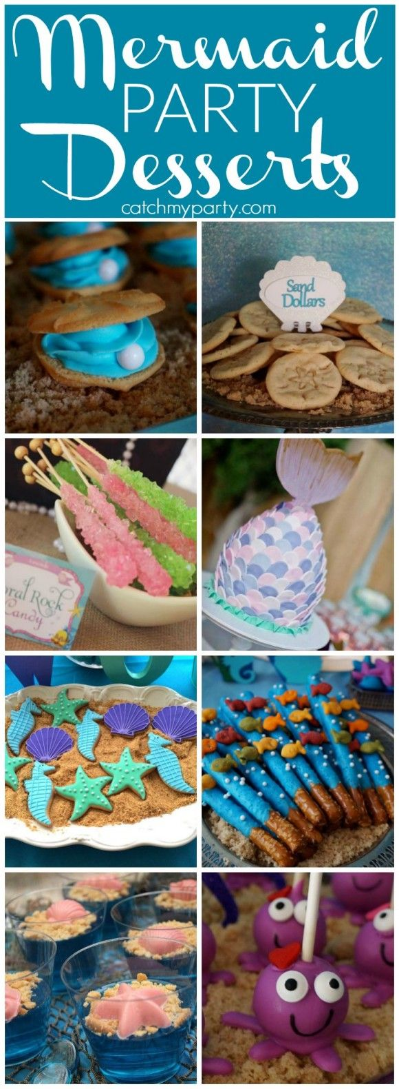 Mermaid Party Desserts to give you ideas for your mermaid and under the sea birthday parties! | CatchMyParty.com