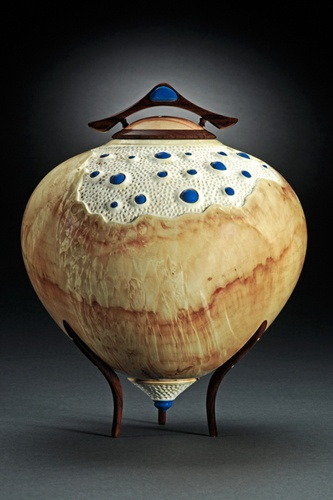 """Leroy Bayerl: """"Oozin the Blues""""  Turned vessel of Box Elder burl with Walnut legs and lid and enameled parts."""