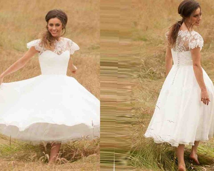 Awesome Fantastic V neck Natural Tea Length Lace Pink Cap Sleeve Wedding Dress with Sashes and Appliques
