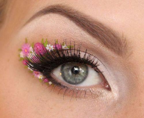 I love makeup. But I suck at art. Flowers eye makeup simplistic * eye makeup *