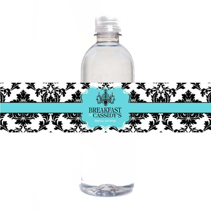 Breakfast At Tiffany's Bridal Shower Personalized Water Bottle Labels, 8-1/2 x 2 inch, Printable Bridal Shower Water Bottle Labels by GetLabeled on Etsy