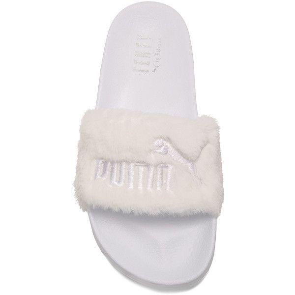 Puma X Rihanna Fenty Leadcat Sandal ❤ liked on Polyvore featuring shoes, sandals, puma footwear, puma shoes, puma sandals, white shoes and white sandals
