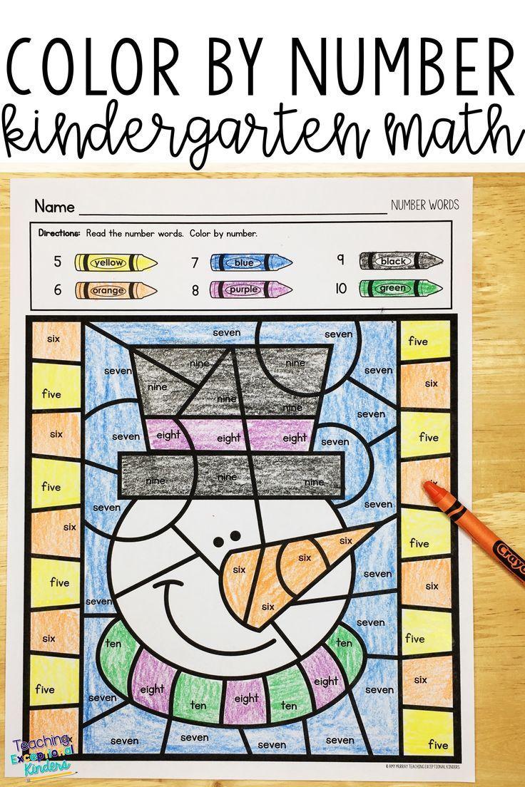 Winter Color By Number Math Worksheets Math Worksheets Math Kindergarten Math