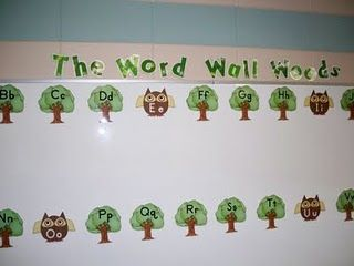 """The Word Wall Woods"" Bulletin Board...click on picture to print the Vowel Owls and the Tree Consonants"
