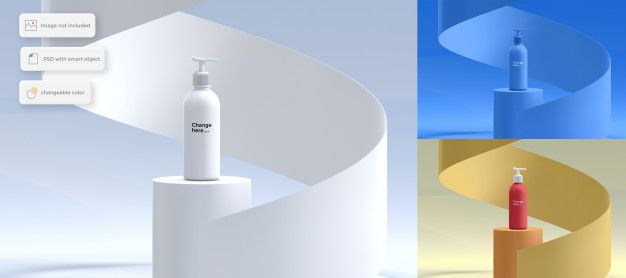 Bottle Of Lotion On Podium Mockup With Spiral Object In 2020 Business Card Mock Up Bottle Elegant Business Cards
