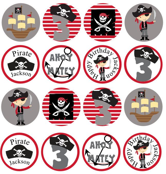 PERSONALIZED Pirate Printable Cupcake Toppers -Bag Tags -2 inch Circles-  Birthday. $6.00, via Etsy.