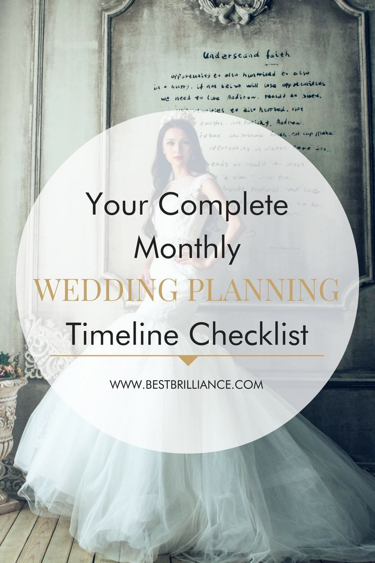 DIY Wedding Planning Checklist: A Month to Month Guide | This detailed wedding planning checklist you'll have no problem getting everything done. With your diamond engagement ring on your hand, your true love by your side and this list in your pocket, you'll be on your way to wedded bliss before you know it! Get tips for those on a budget at  https://bestbrilliance.com/blog/-your-complete-monthly-wedding-planning-timeline-checklist/