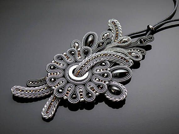 Gray silver necklace soutache with Hematite.