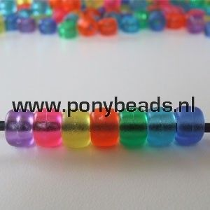 Haarkralen mat transparant / Pony beads Mix Matte Transparent