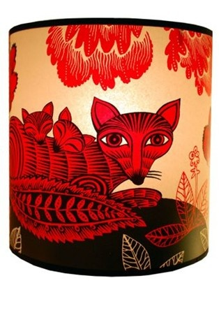 fox and cubs lampshade