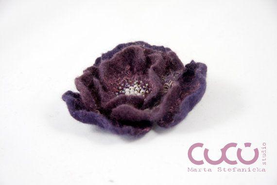 Felted brooch dark bordo and violet flower brooch dark bordo
