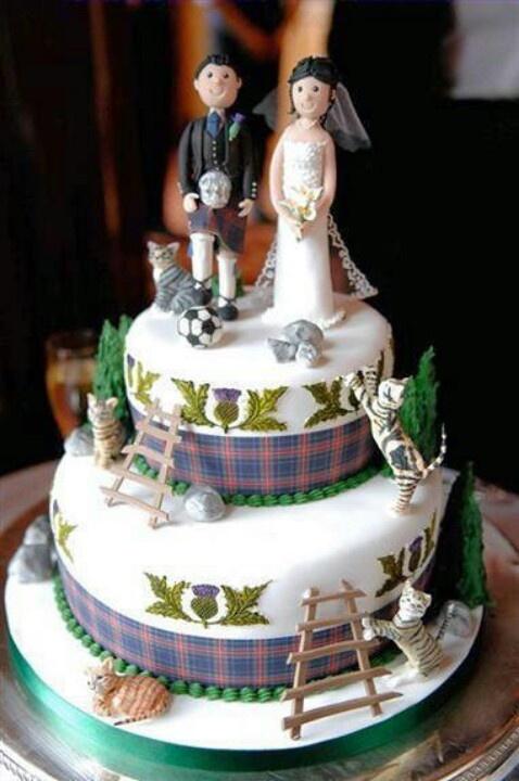Scottish Wedding Cake With Cats