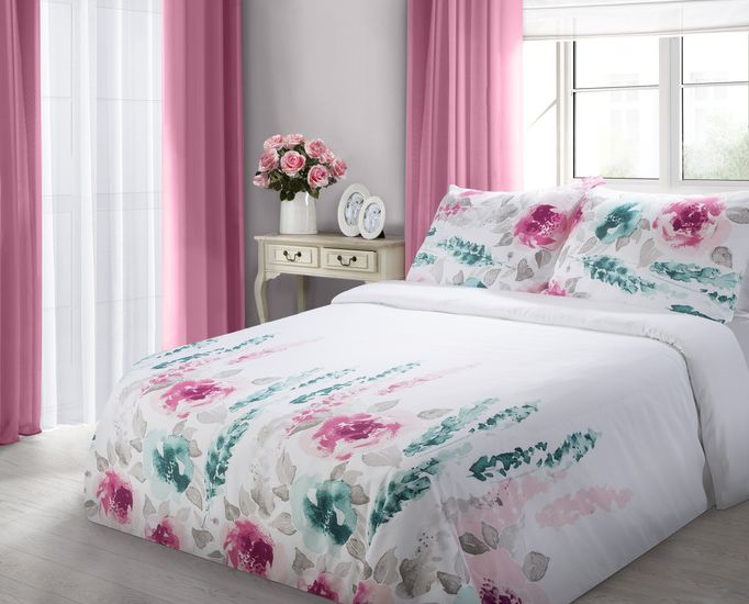 Biała nowoczesna pościel do sypialni w kwiaty