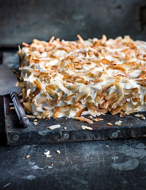 Tres leches cake with rum and toasted coconut