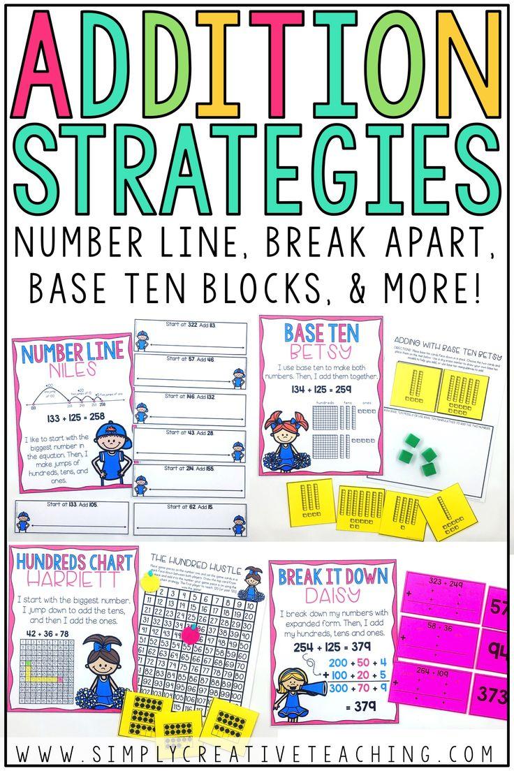 2 3 Digit Addition Strategies Simply Creative Teaching Addition Strategies Subtraction Strategies Addition And Subtraction Break apart line addition