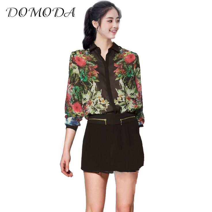 DOMODA Black Elegant Printed Blouse Shirt Women Single Breasted Turn Down Collar Long Sleeve Chffon Blouse Female Blouse Tops *** AliExpress Affiliate's Pin. View the item in details by clicking the image
