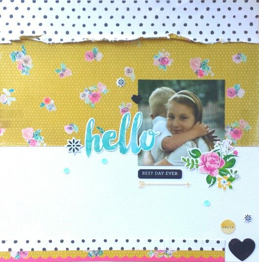 Friday Favorites : Pretty Paper post: Hello Best Day Ever layout by Amanda Baldwin