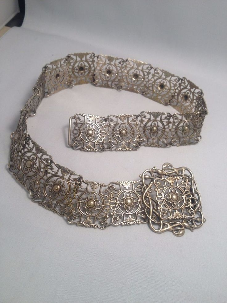 Vintage hallmarked Metal chatelaine belt great of cosplay and period costumes.
