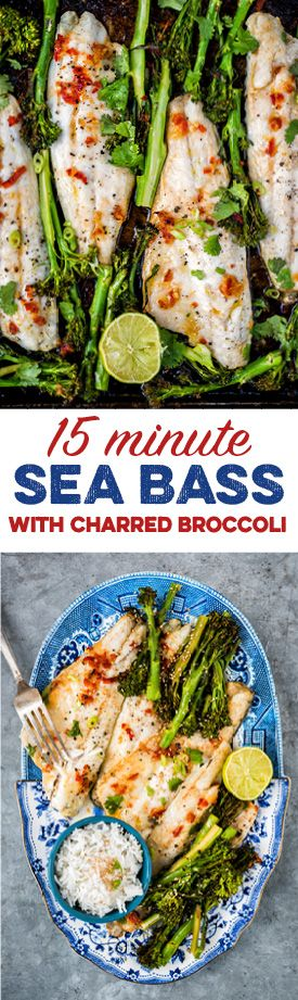 This sheet pan Asian sea bass with charred tenderstem broccoli is ready in 15 minutes, healthy and delicious!