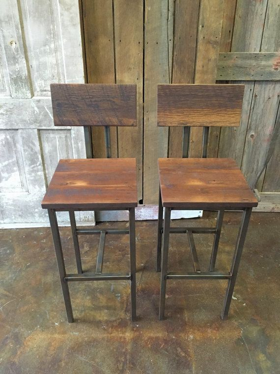 reclaimed wood bar stools industrial stool reclaimed barn wood stool with hand welded steel base and ecofriendly finish set of 2