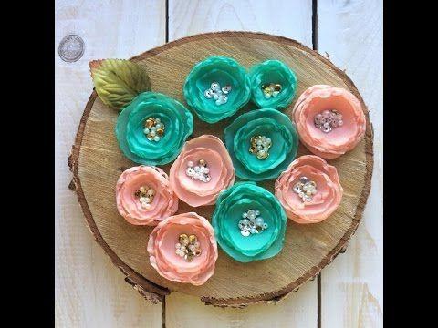 Скрапбукинг мастер класс: шифоновые цветы своими руками. - YouTube
