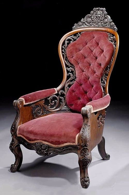 John Henry Belter parlor chair.  The highly ornate Rococo Revival style presented in this room would have been considered the height of fashion in the 1850s.