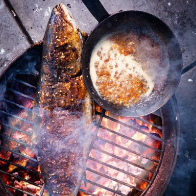 Taste Mag | Yellowtail on the coals with sticky apricot vanilla and ginger glaze @ http://taste.co.za/recipes/yellowtail-on-the-coals-with-sticky-apricot-vanilla-and-ginger-glaze/