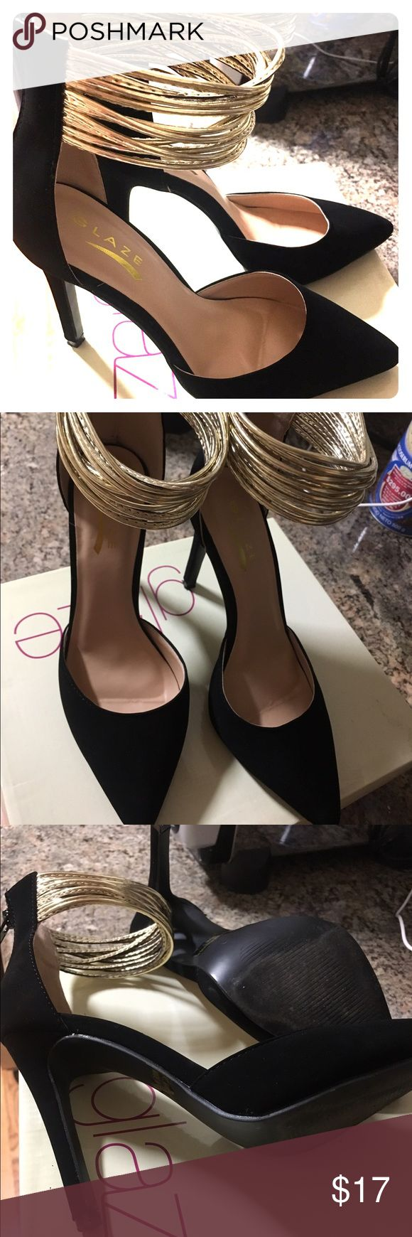 Black and gold D'Orsay Pumps Super cute and very classy. True to size. Worn once. glaze Shoes Heels