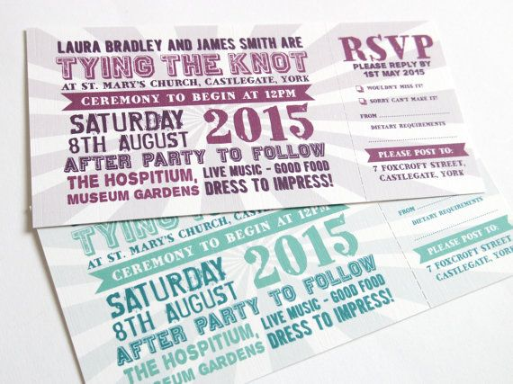 Festival Wedding Invitation with RSVP card - Festival ticket style