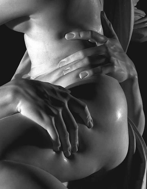 detail image of marble carving by Bernini, Pluto and Persephone, 1622.... amazing.  Imagine marble being capable of this kind of softness.