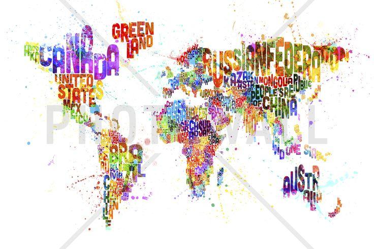 Typographic Text World Map Paint Splash - Fototapeter & Tapeter - Photowall