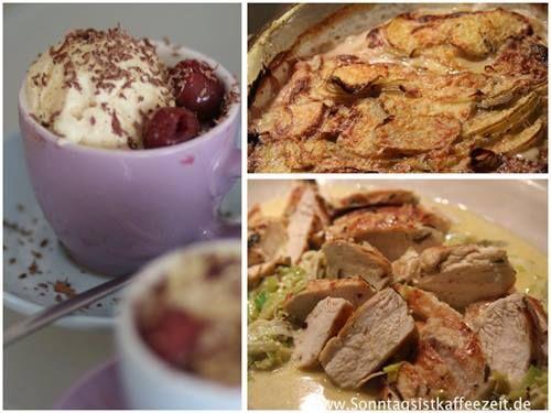 Hähnchen mit Senfsauce, Kartoffelgratin & Spinat (mit ertrunkenem Kapuziner) Rezept eingesendet von: Tina-Maria Lenz  #Rezept