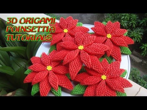 HOW TO MAKE 3D ORIGAMI POINSETTIA | DIY POINSETTIA CHRISTMAS DECORATION TUTORIALS - YouTube