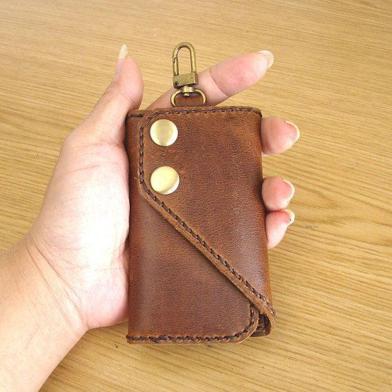 Leather Key Holder - Leather Key Case in Brown / key chain / purse/ case / Gift for Men / Gift for women / Handmade and Hand Stitched on Etsy, $26.00