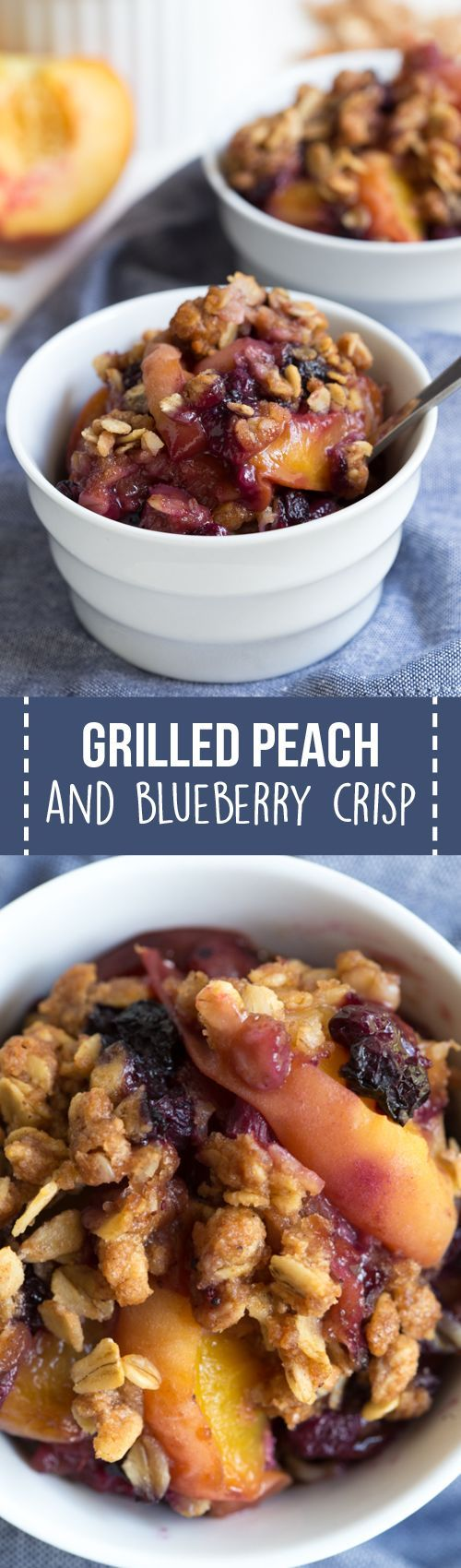 Grilled Peach and Blueberry Crisp is made with only a few simple ingredients including fresh peaches, wild blueberries and crisp oat topping! The fresh crisp is cooked on the grill so you don't even have to turn on the oven. @wymansofmaine