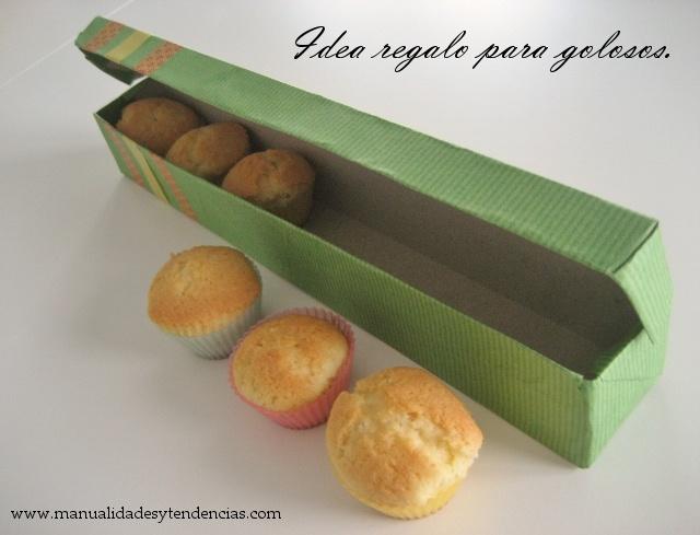 www.manualidadesytendencias.com DIY caja de pasteles hecha con caja de film de cocina. / DIY gift box for cup cakes made out of film food box.