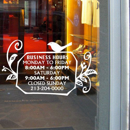 The  Best Images About BUSINESS HOURS DECALS On Pinterest - Cute custom vinyl stickers   for business