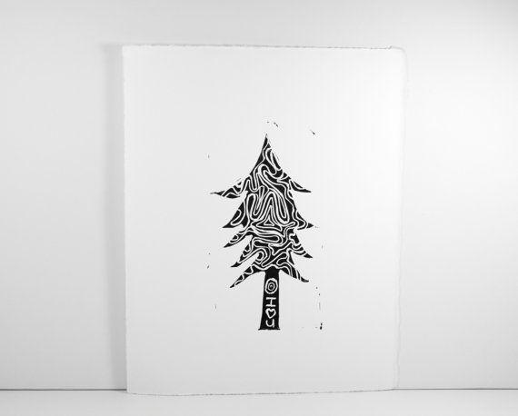 Modern Christmas Tree Linocut in Black 8x10 by RetroModernArt #holiday #forest #christmastree #holidaydecor