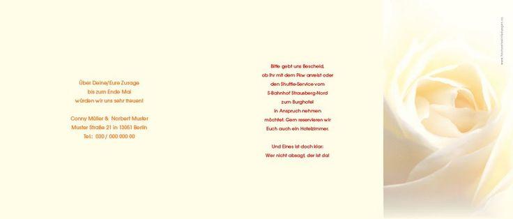 Seite 2, 3 und 4 der gelbe Rosen Hochzeitseinladungen für Ihre Hochzeitseinladungstexte oder Hochzeitssprüche
