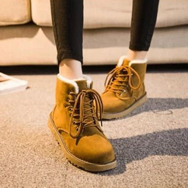 Designer Winter Warm Lace Up Ankle For Women Flat Boots - NewChic