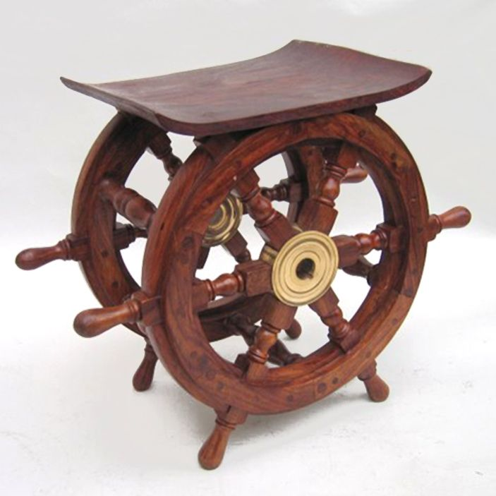 "CaptJimsCargo - Ship's Wheel End Table 15"" Teak Wood Nautical Furniture, (http://www.captjimscargo.com/nautical-home-decor/ship-steering-wheels/ships-wheel-end-table-15-teak-wood-nautical-furniture/) What a salty addition this nautical ships steering wheel end table would make to your home furniture decor or as a nautical gift!"