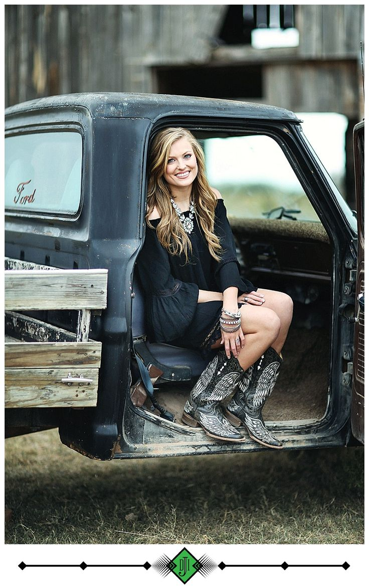 Senior Picture Ideas for Girls | Vintage Truck | Cowboy Boots | Click this link to follow my Senior GIRLS board for inspiration at https://www.pinterest.com/JillLevenhagen/