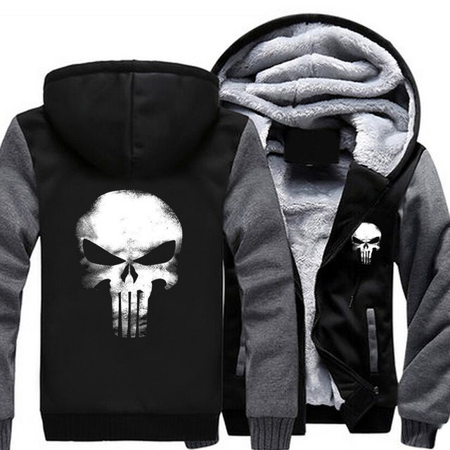 Sale $32.55, Buy 2017 USA SIZE Men Hoodies Punisher Skull Casual Hoodies Thicker Fleece Coat Jacket Unisex Sweatershirts