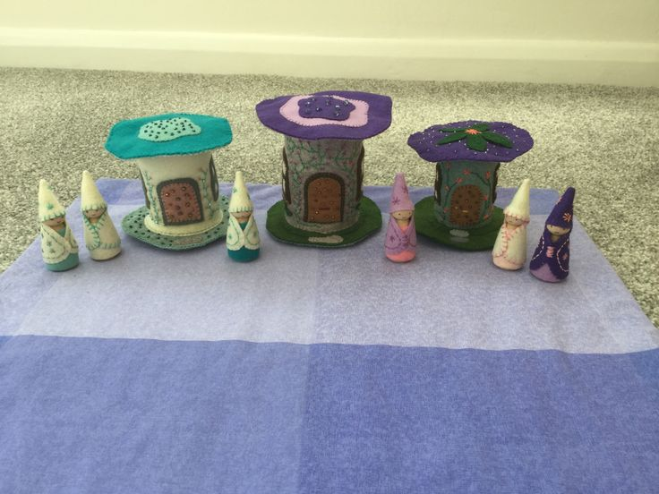 2017 - 4 Felt Fairy Houses - Made by Jan