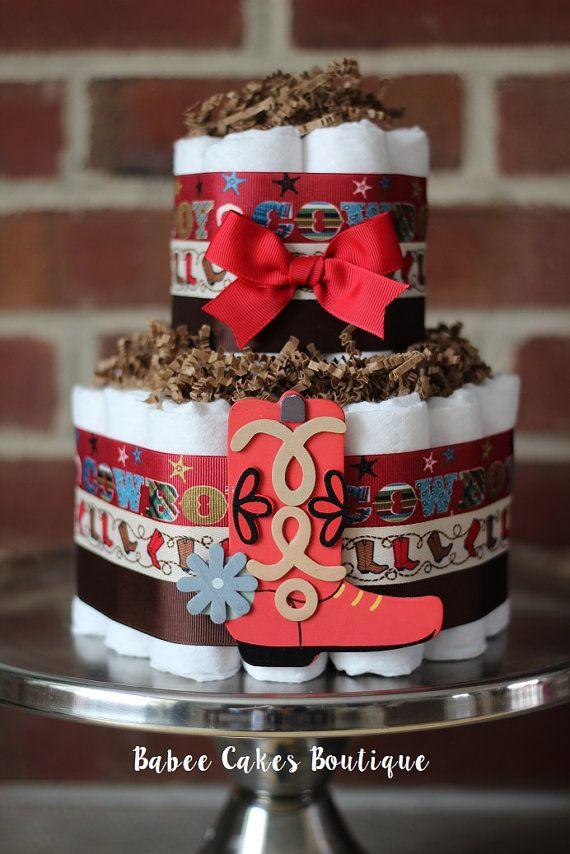 2 Tier Mini Cowboy Diaper Cake, Cowboy Baby Shower Decor, Red and Brown Boy Diaper Cake, Baby Shower Centerpiece, Cowboy Rodeo Shower Decor