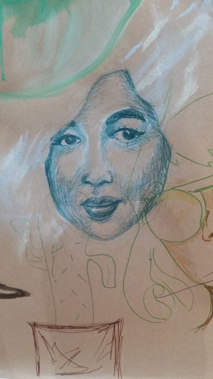 collaborative drawing - colour pencils, eraser - portrait from photographic source
